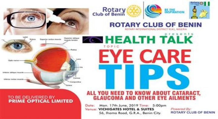 Rotary Club of Benin presents a lecture on Eye care